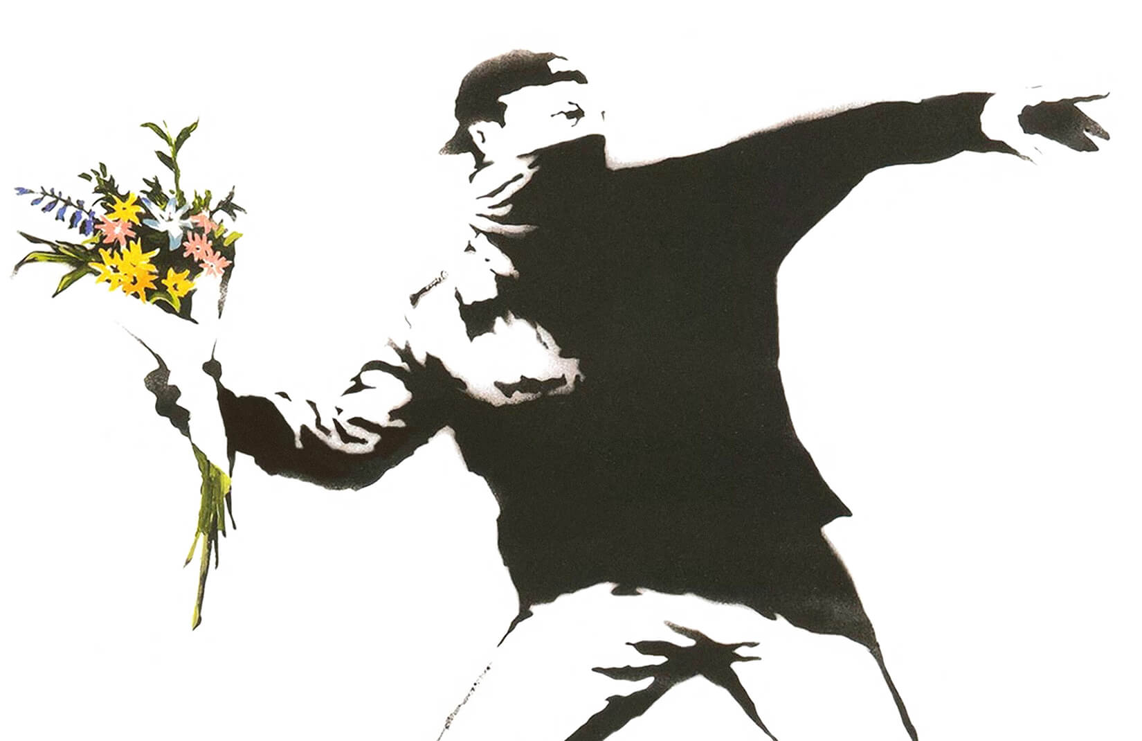 flowers banksy graffiti plain